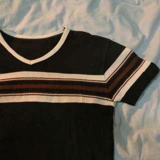 Cropped Baseball Ribbed T Shirt