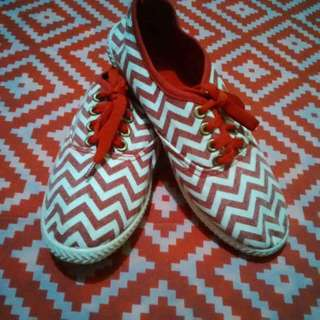 red and white shoes