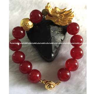 Super Lucky Dragon with Fireball 24K Gold with Natural Ruby