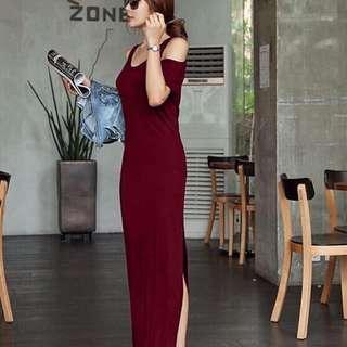 Cold-shoulder Side Slit Dress