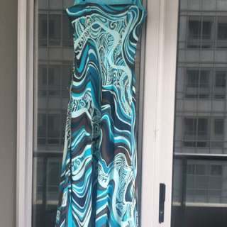 100% Silk Size 12 Ankle Length Blue/ Brown Dress