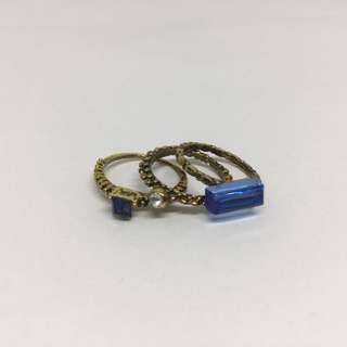 Set Of 3 - Blue Edged-Stone Ring Set