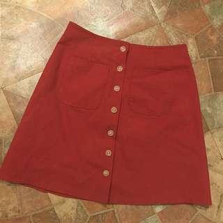 排扣棉麻短裙