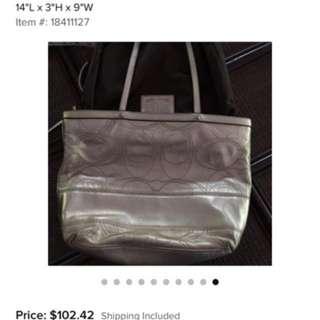 Authentic Coach Signature metallic gold leather bag