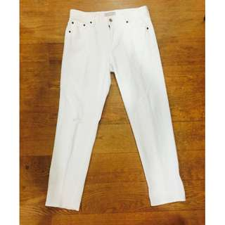 Uniqlo White Fit Slim Boyfriend Tapered Mid Rise Pants