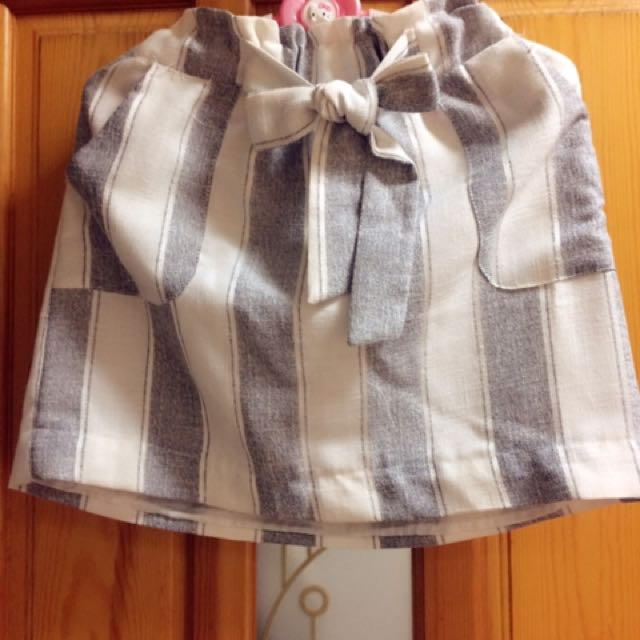 棉麻條紋綁帶裙(不含運)