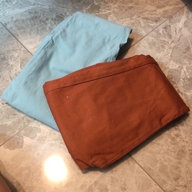淡藍色與復古橘彈性褲子✨