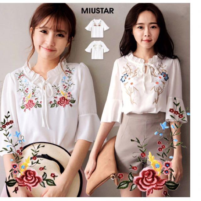 韓國玫瑰刺繡荷葉綁結領雪紡上衣