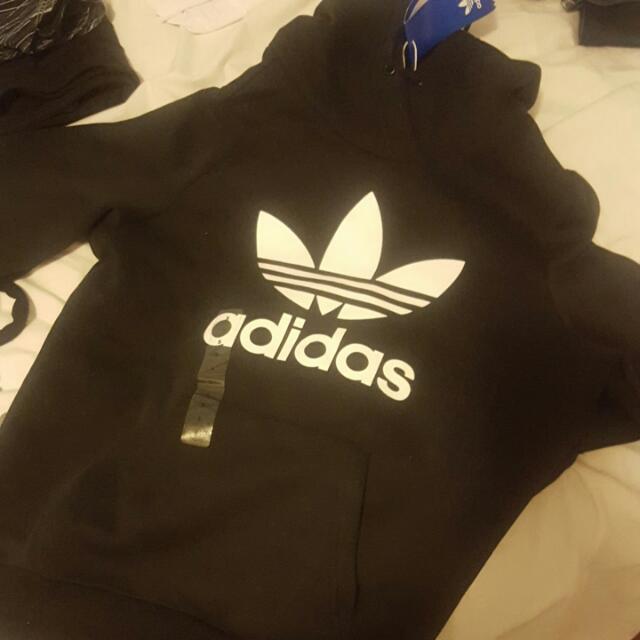 Adidas Originals Black And White Logo Hoodie $75