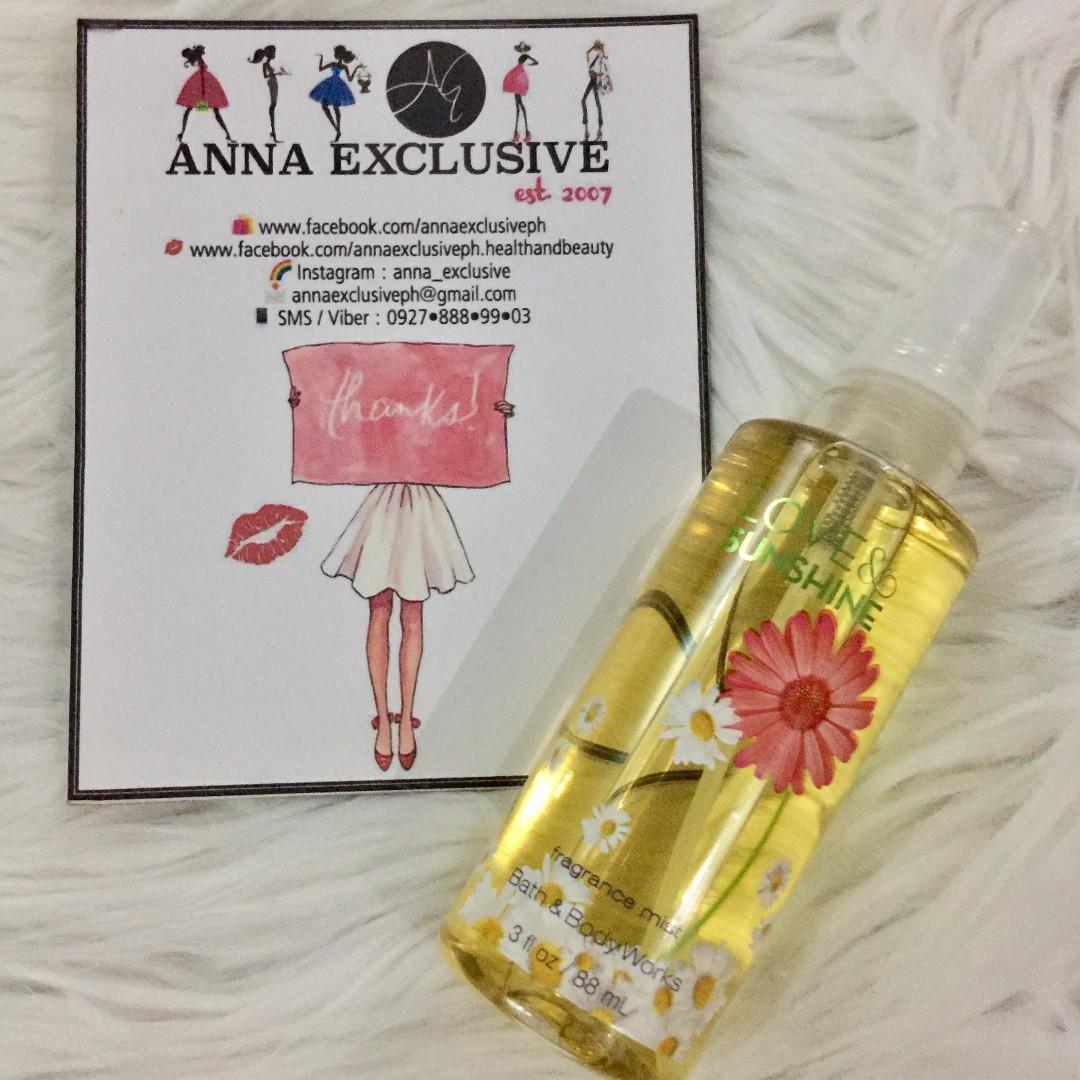 AUTHENTIC Bath & Body Works LOVE & SUNSHINE Fine Fragrance Mist 3 fl oz / 88 mL