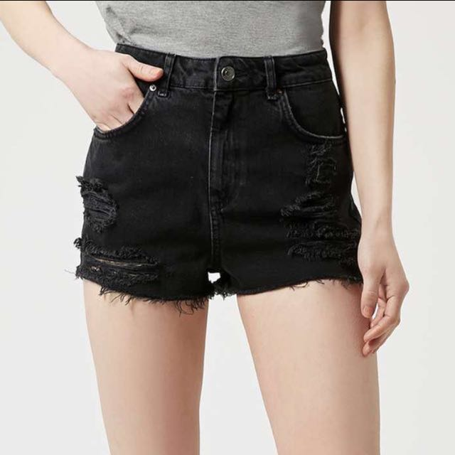 Authentic Topshop High Waisted Distressed Ripped Mom Denim Shorts
