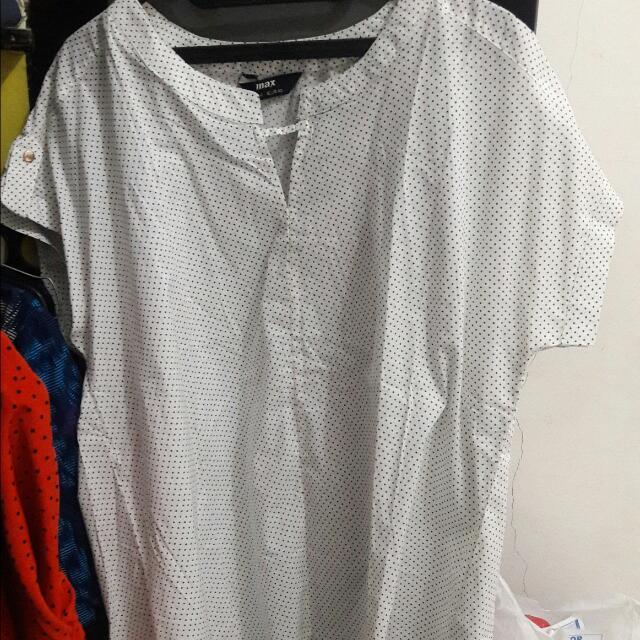 Baju Kerja Polkadot Putih