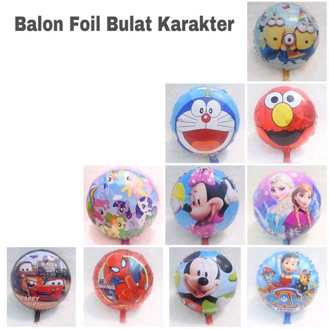 Balon foil Bulat Karakter Kartun Anak