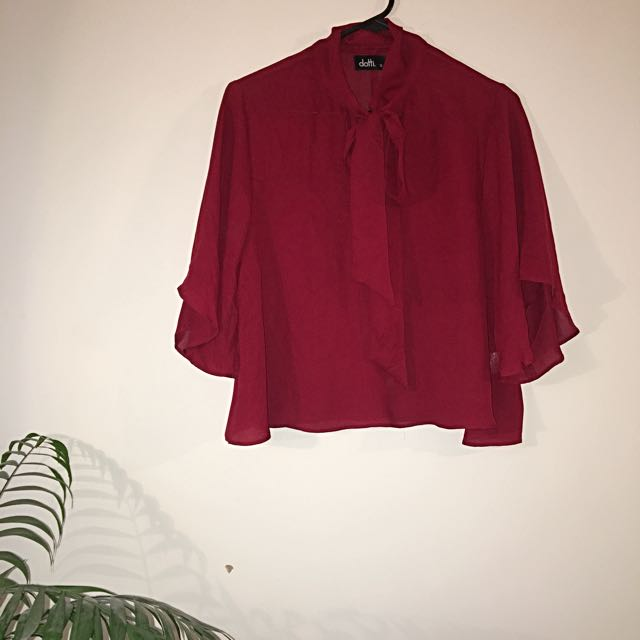 Batwing Pussy Bow Tie Blouse