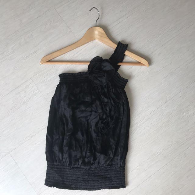 (reduced) BEBE 100% Silk Top One Shoulder S
