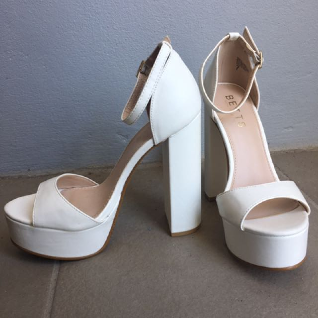 Betts White Platform Heels
