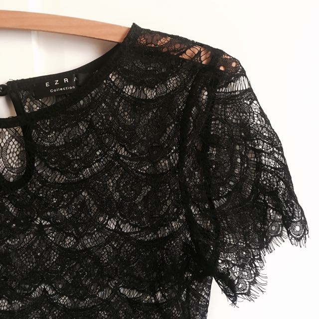 Black Lace Top - Size Small