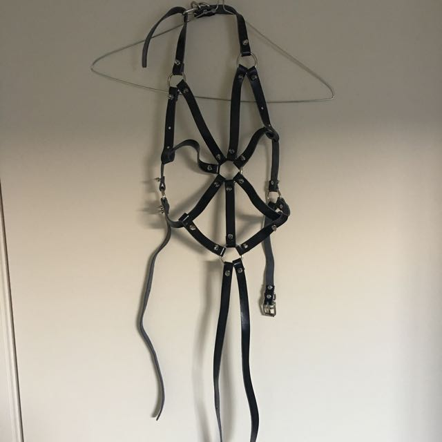 Black Leather Studded Harness Belt