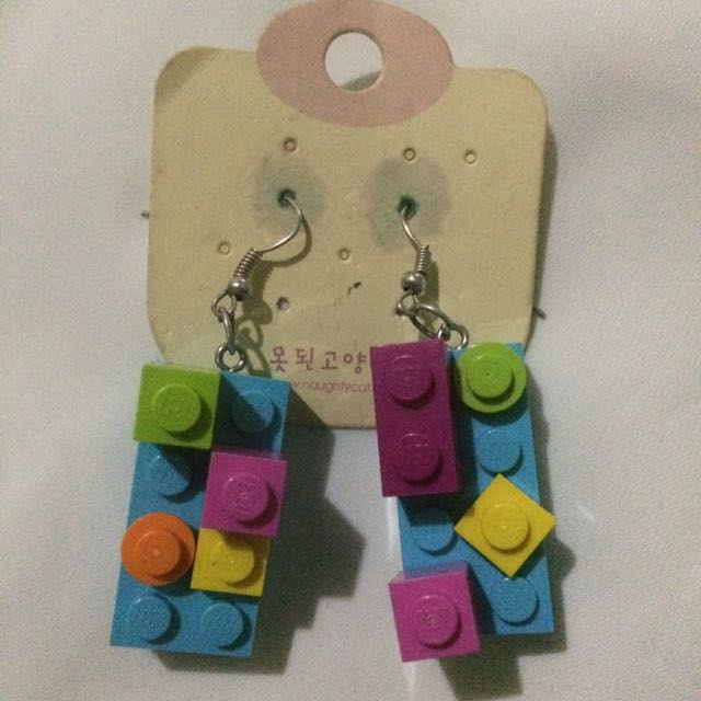 Blue Lego Earrings