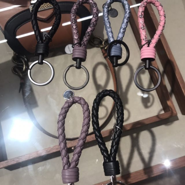 BV 羊皮蛇皮編織 鑰匙圈 藍 粉 紫 黑