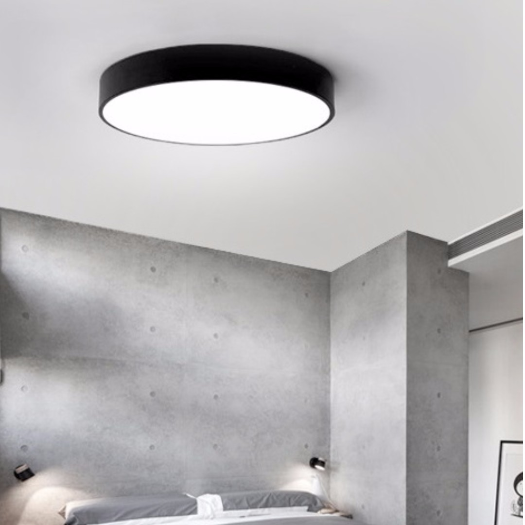 Ceiling Light Round Black/White Frame, Furniture, Others on Carousell