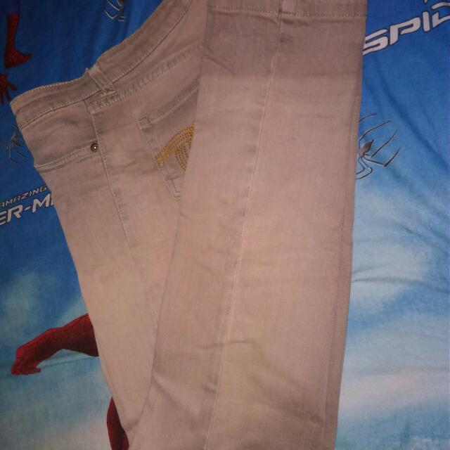 Celana Jeans Panjang Warna Coklat Tebal