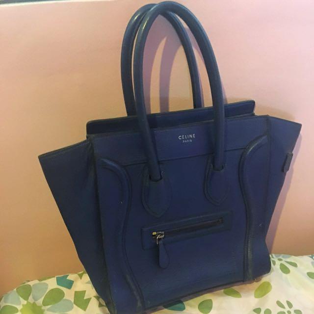 Celine Paris Navy Blue Micro Luggage