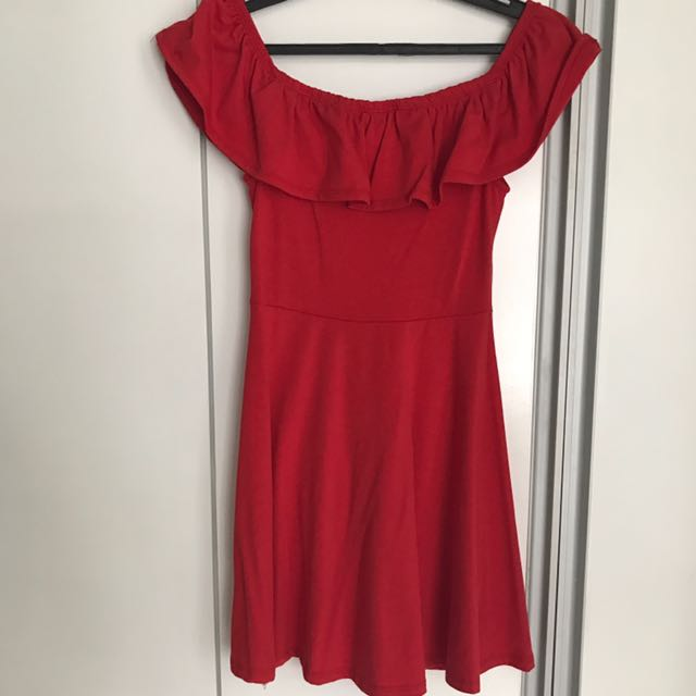 COTTON ON Red Off Shoulder Mini Dress