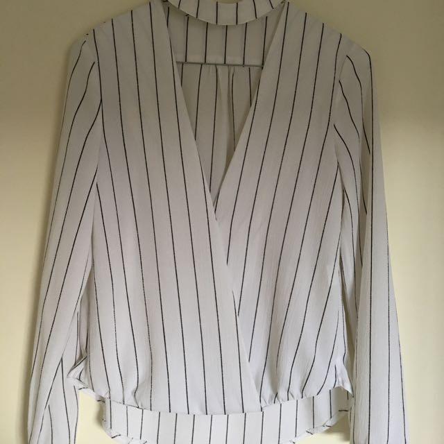Cream With Black Stripe Choker Collar Shirt Size 6