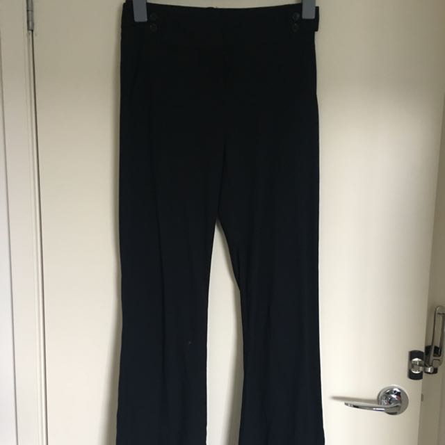 CUE Black Wide Leg Trouser With Side Tab Size 6