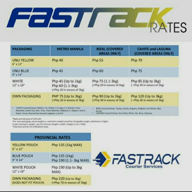 FASTRACK COURIER RATES!