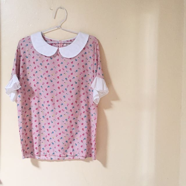 flower collar blouse top