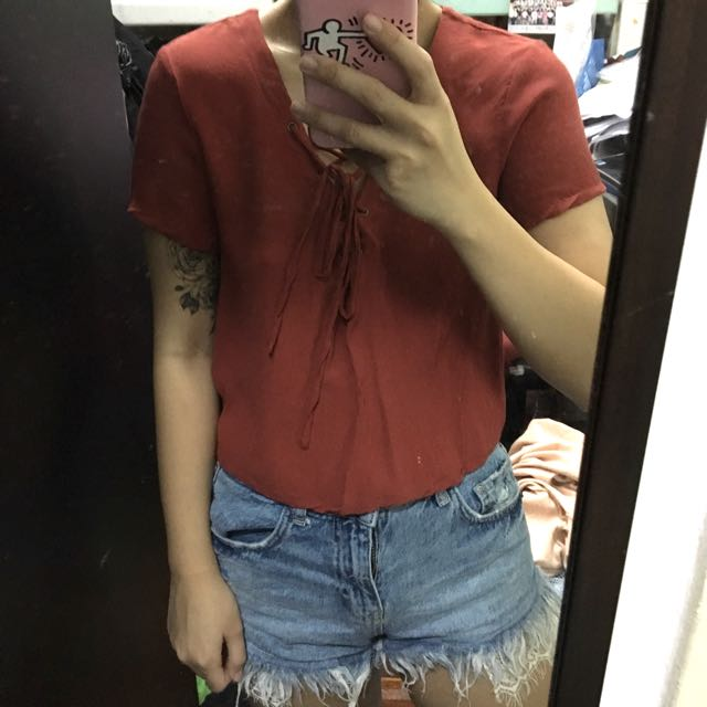 Authentic Forever 21 F21 Vintage Brick Red Brown Lace Up Top Tee Blouse Shirt