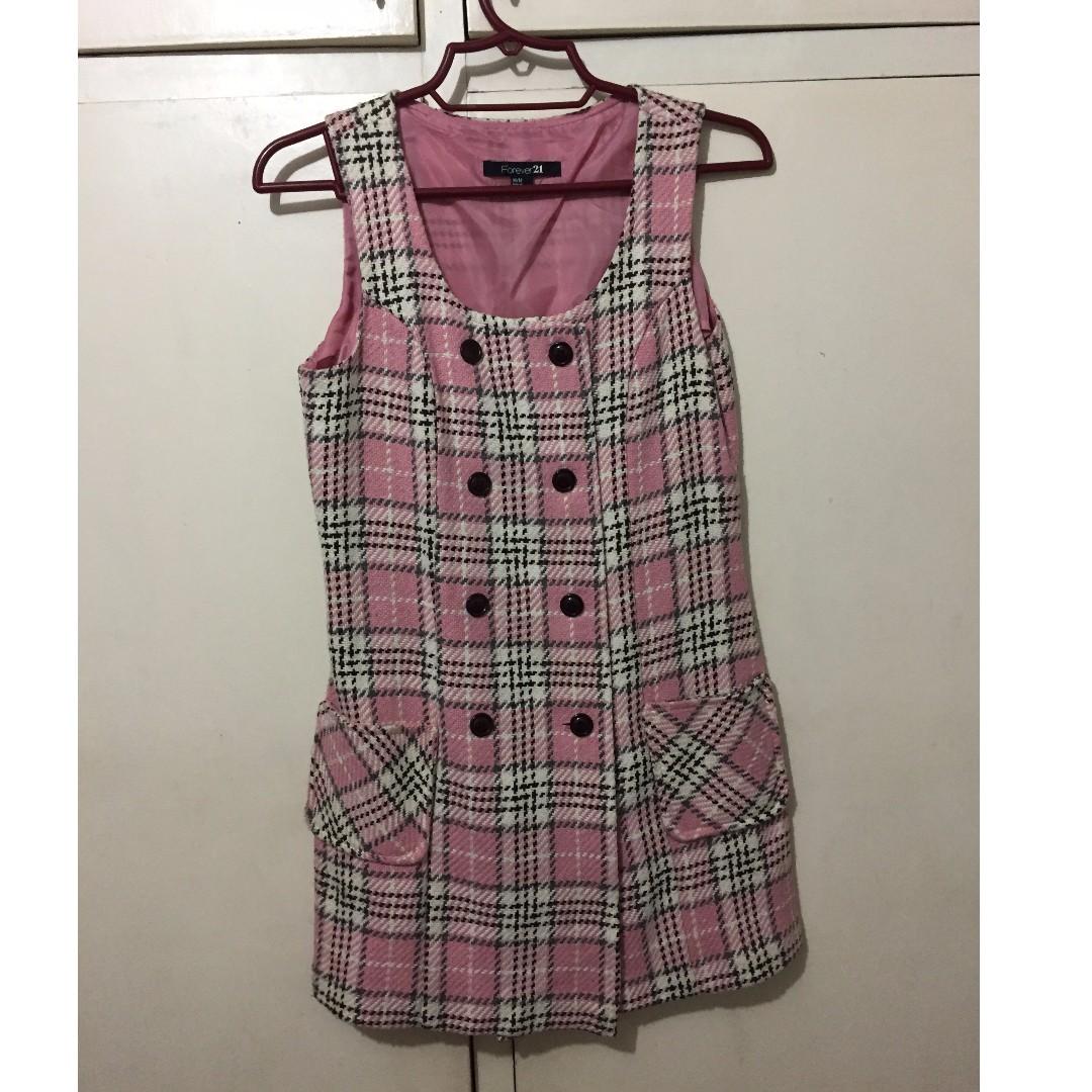 Forever 21 knee-length pink plaid dress