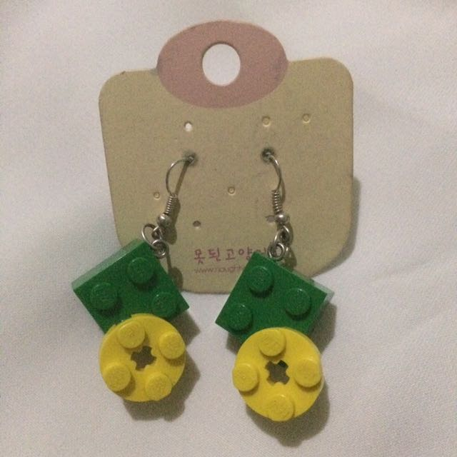 Green Lego Earrings