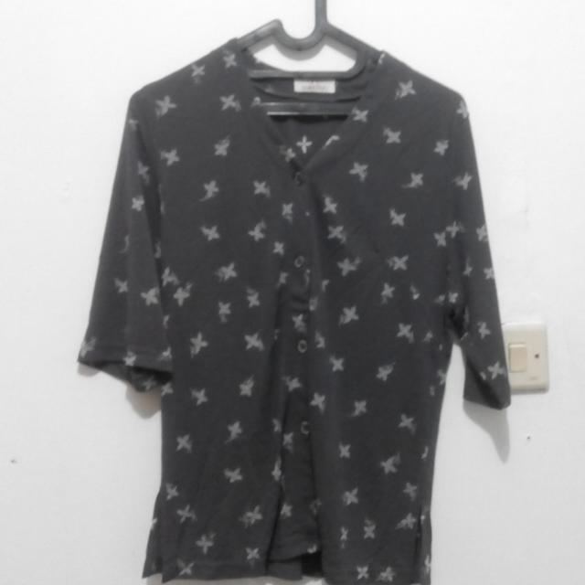 Grey Flower Button Shirt