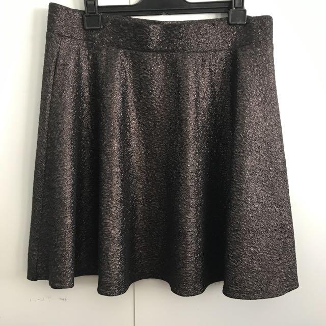 Gunmetal Metallic Skirt