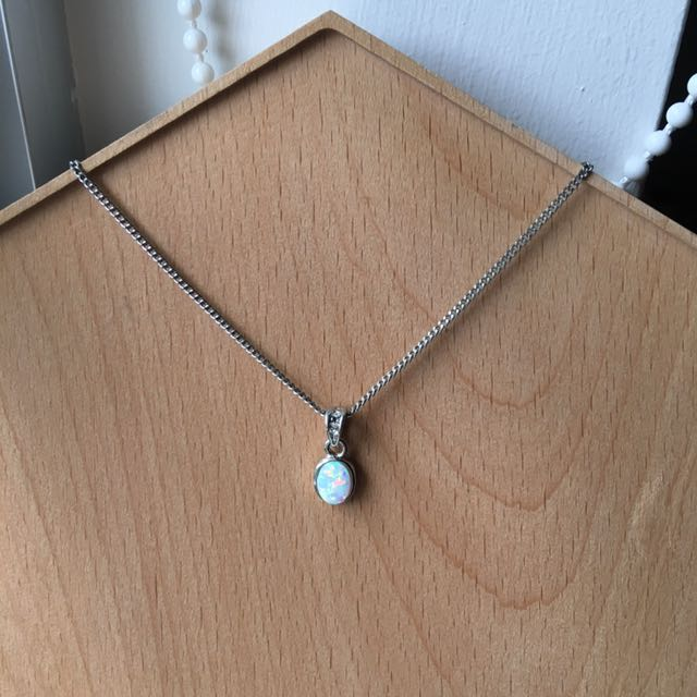 White Opal Silver Necklace