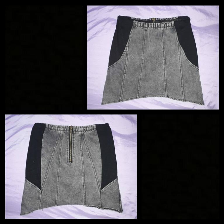 High Waist Edgy Gray Denim Pencil Skirt