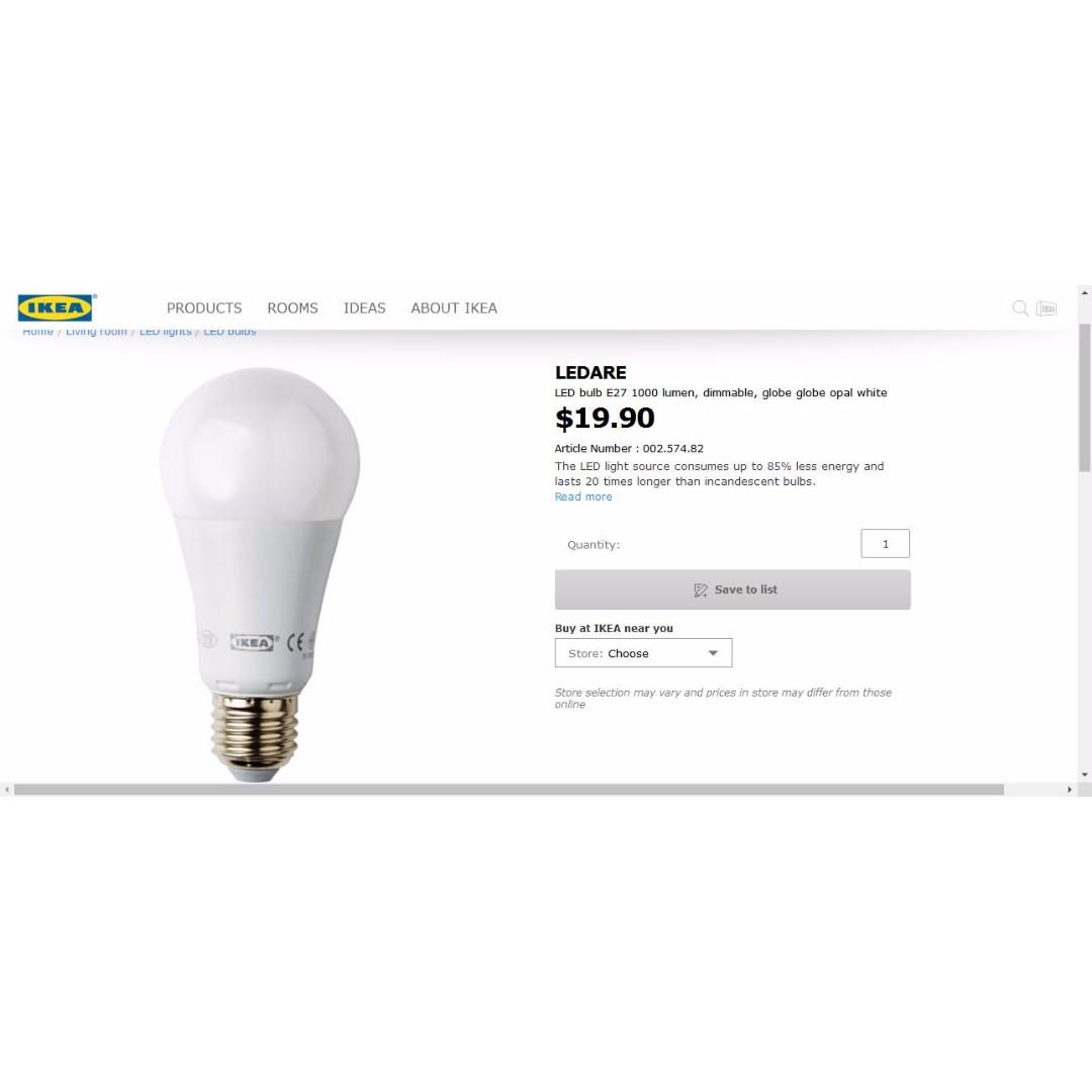Ikea Led Bulb 13w 1000lm Furniture Home Decor On Carousell