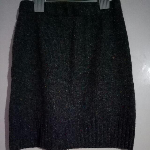Jayjays Winter Knitted Short Skirt Gray With Multi Color Pattern Size XS.  Acrylic Wool