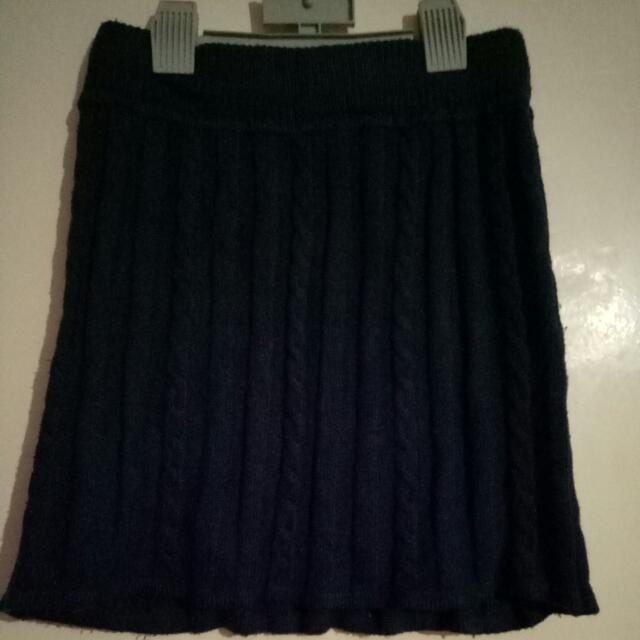 Jayjays XS Navy Short Knitted Winter Skirt,  Acrylic Nylon