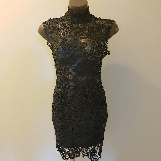Lace Black Dress Bodycon Size Small 8-10