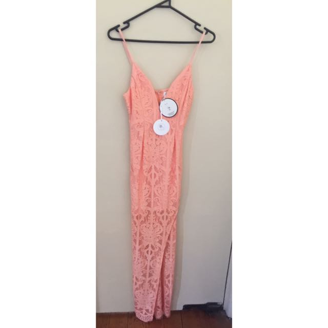 Lace Peach Dress With Side Slit Size 10