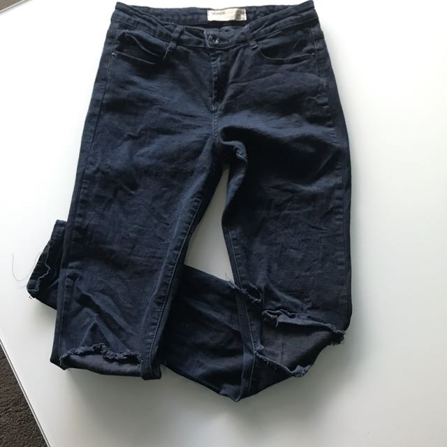 Ladies Dark Blue Cotton On Rip Jeans