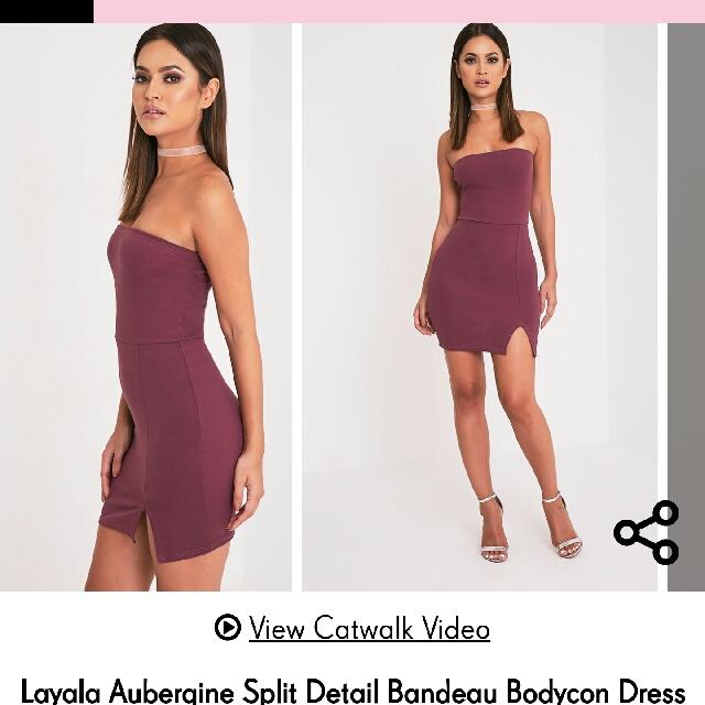 Layala Aubergine Split Detail Bandeau Bodycon Dress