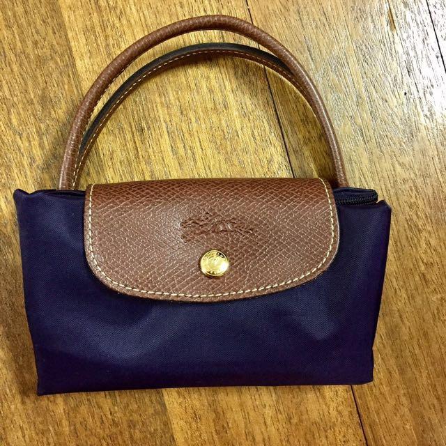 Longchamp 短柄 紫色手提包