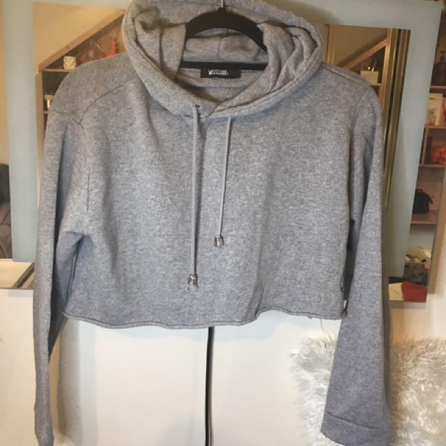 Missguided Cropped Grey Hoodie