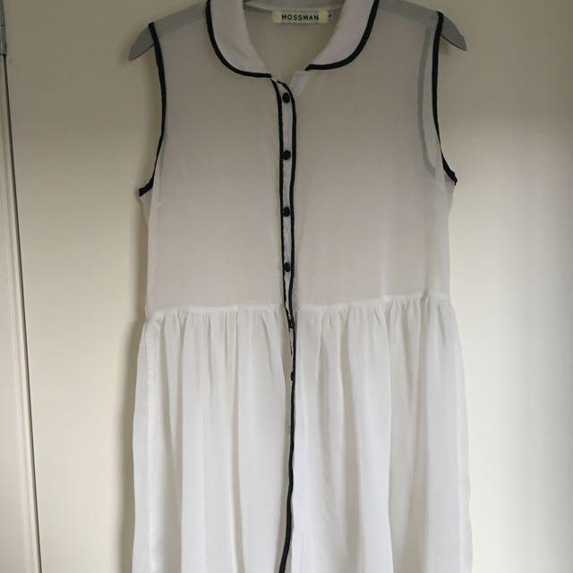 MOSSMAN Sheer Cream Button Through Dress Size 8