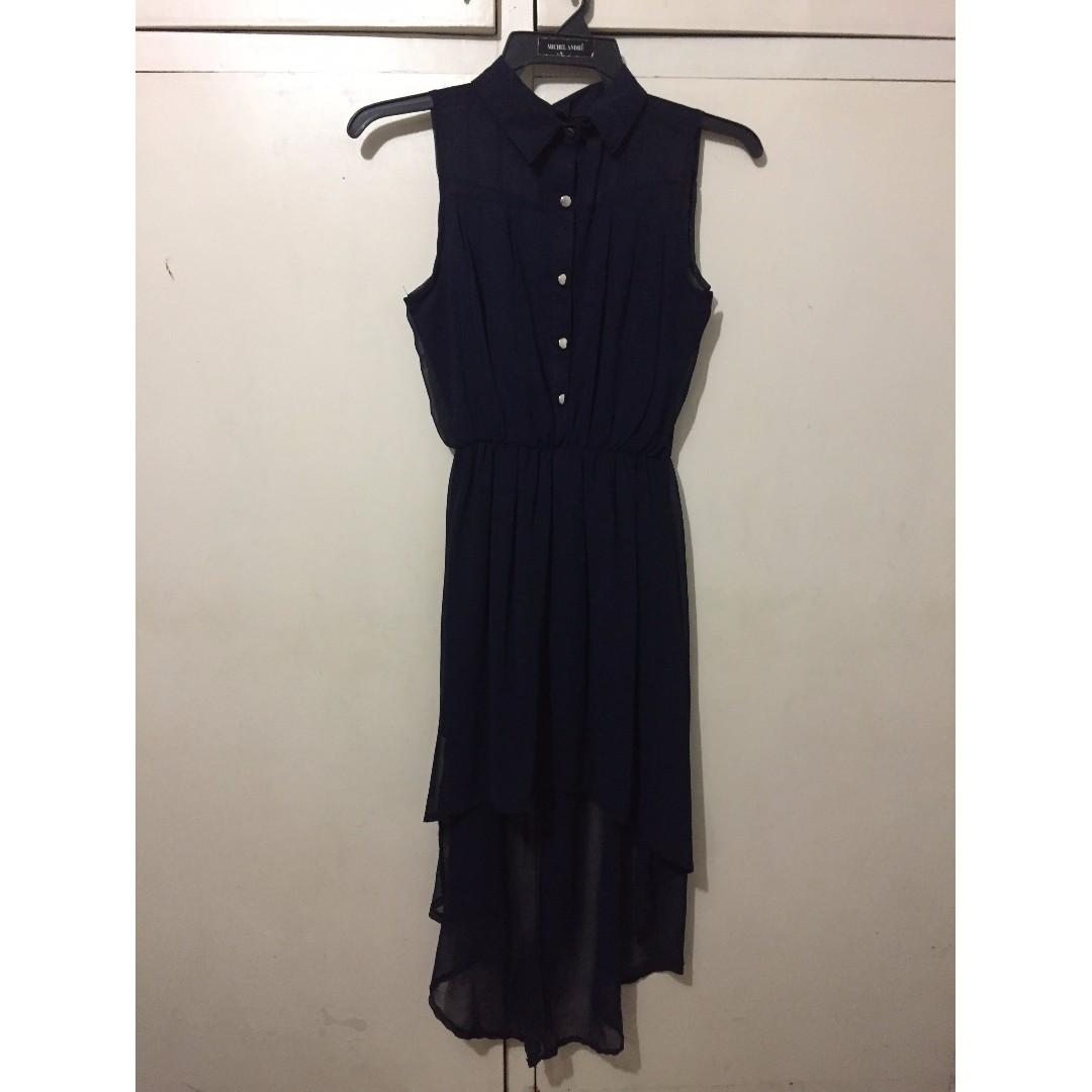 Navy blue collared chiffon dress with asymmetrical hemline